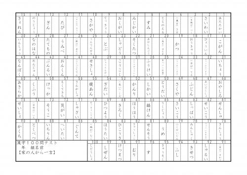 漢字100問4年1学期