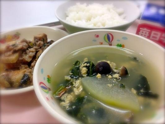 とうがんスープ、ナスと厚揚げの味噌炒め